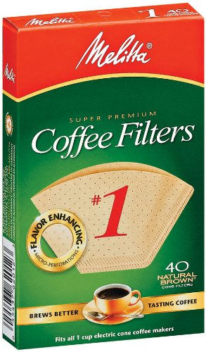 Price comparison product image Melitta 620122 #1 40 Count Natural Brown Cone Coffee Filters, Brown