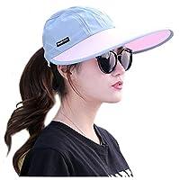 YLucky Women Wide Brim Sun Visor Hat Caps Foldable Anti-UV Golf Tennis Sun Visor Cap Adjustable Summer Beach Sun Hat
