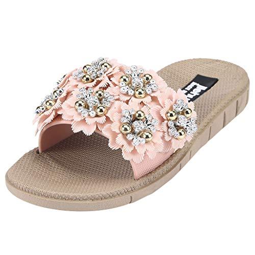 CUTUDE Damen Blume Flache Sandalen Offene Zehe Hausschuhe Wild Wear Casual Beach Schuhe Übergröße Sommerschuhe Strandschuhe Pantoletten (Rosa, 37)
