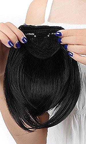 20,3cm Dark schwarz one piece gerade Bang Clip in auf Pony Haar Verlängerung Extensions Fashion Damen Mädchen Choice (Bang Clip In)