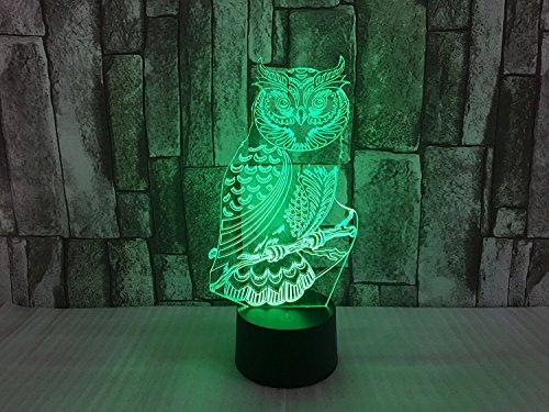 LED Nachtlicht Magical 3D Owl Visualisierung Amazing Optische Täuschung Touch Control Light 7 Farben ändern für Kinderzimmer Home Decoration Best Geschenk