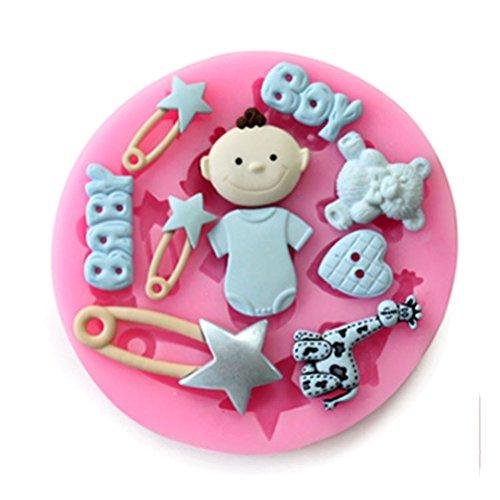 Drawihi stampo in silicone per cubetti di ghiaccio,biscotti,tortini,cioccolato,bambino orso tema,rosa,8 * 8 * 1.1cm