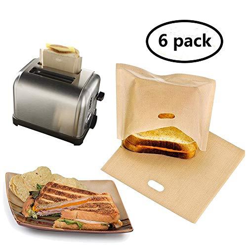 Eatronchoi antiaderente tostapane sacchetti (6 pack), riutilizzabili, resistente al calore e facile da pulire, perfetto per panini pasticcini pizza Slices pollo pesce verdure panini e aglio toast Gold