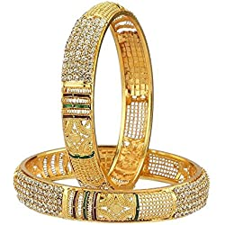 Jewar Bangle 2.8 Inches Kundan Ad Jade Fine Gold Plated Real Look Gemstones Jewelry 6900