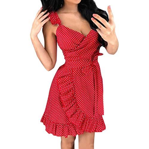 Sexy Polka Dot Minikleid Weiß Damen V-Ausschnitt Gürtel Bandage Rückenfrei Kleider Hochzeit Cocktailkleid Vintage Spitze Sommerkleid Boho Elegant Kleid Partykleider Ballkleid Abendkleid(Rot.L)