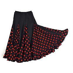 Falda de flamenco para mujer, color negro con lunares rojos modelo 2017/18 L