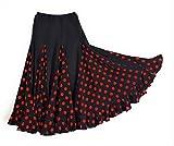 Falda de flamenco para mujer, color negro con lunares rojos modelo 2017/18 M