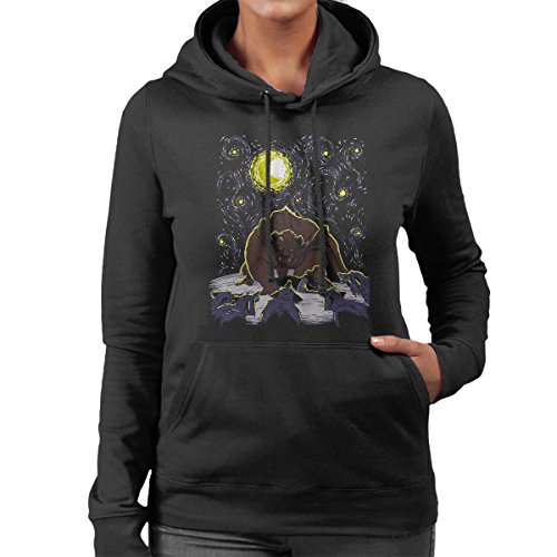 Starry Night Protected From Wolves Beauty And The Beast Women's Hooded Sweatshirt Black