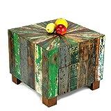 Wuona Objects Couchtisch 50 cm, 1 Schublade, Bali altes Teak Bootsholz, massiv, verschiedene Farben, Tisch Handarbeit