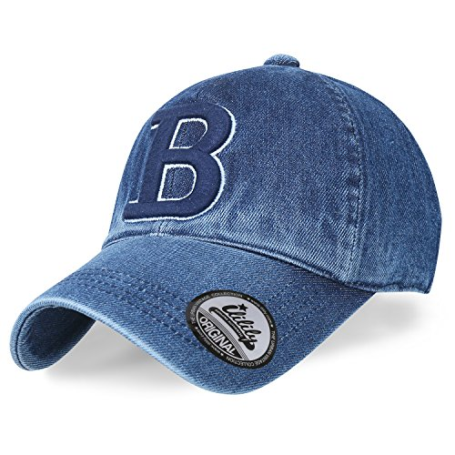 Ililily Letter Embroidery Denim Vintage Baseball Cap Washed Cotton Trucker Hat