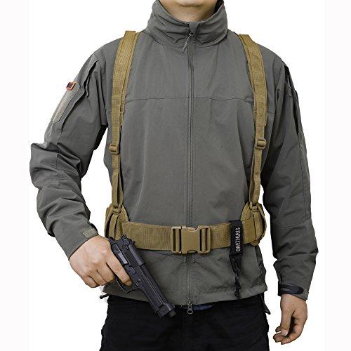 Onetigris molle servizio imbottito cintura cinturone tattico softair lotta pad con bretelle, cachi