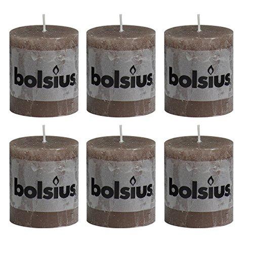 6x Rustic Stumpenkerze 80/68 mm von Bolsius / 33 Farben zur Auswahl (Taupe (24))