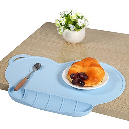 Childrens Placemats, KEERADS Silicone Suction Non-Slip Baby Eating Mat with Food Catcher Eholder Fits Highchair Table – Portable Collapsible Personalised Feeding Placemats for Kids 51Dvp9bAM6L