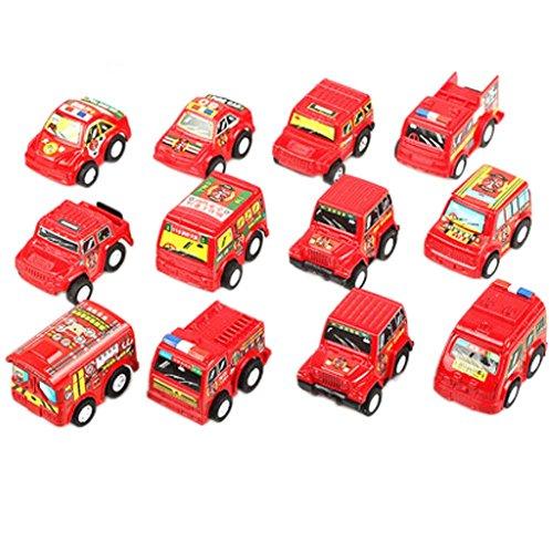 Blancho 12st Mini Pull-Back-Fahrzeug Spielzeug Car & Truck Modell, Feuerwehrauto