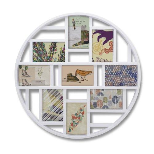 Umbra Luna Bilderrahmen Collage für 9 Fotos - Runde Fotowand für neun 10 x 15 cm Bilder, Fotos, Illustrationen, Grafiken und Mehr, Weiß - Wand Collage Bilderrahmen
