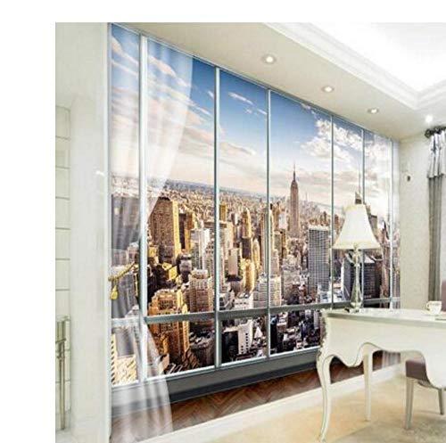 Papel tapiz fotográfico personalizado 3D estéreo Murales grandes Ventanas falsas modernas sofá...