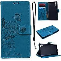 CE-Link für Sony XZ Handyhülle Hülle Ledertasche Schutzhülle Leder Huelle mit Blau Schmetterling Blumen Stand... preisvergleich bei billige-tabletten.eu