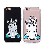 KM-Panda Custodia Cover Compatibile con Apple iPhone 6S Plus 6 Plus Unicorno TPUSiliconeGel GommaMorbidaBumperCase - Nero + Trasparente