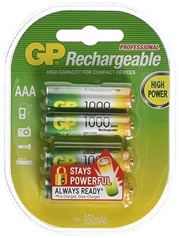GP Rechargeable NiMH GP 100AAAHCE-2UWC4/AAA/NiMH Blister de 4 Piles rechargeables AAA/NiMH 950 mAh Multicolore
