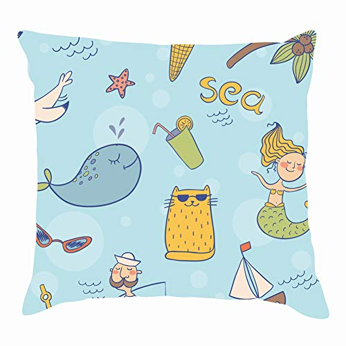 "sea Theme Summer abstractThrow Pillow Covers Cotton Linen Cushion Cover Cases Pillowcases Sofa Home Decor 18""x 18""Inch (45 x 45cm)"