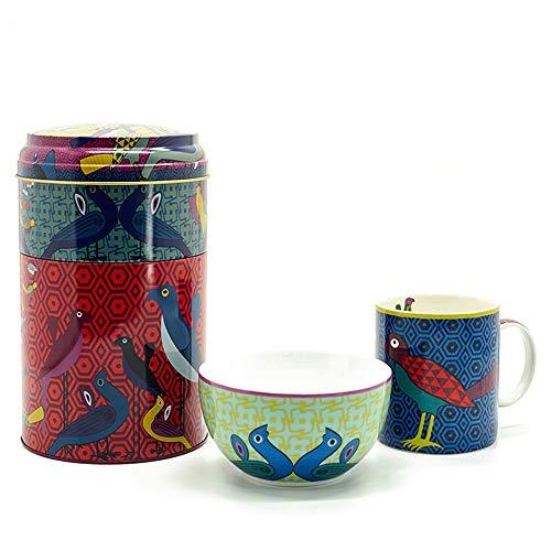 Images d'Orient Geschenkset Set Metalldose mit Kaffeebecher (250 ml) und Schüssel Müslischale(12cm) aus edlem Bone China Porcalain orientalisch Gemustert Birds of Paradise