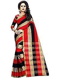 HNC Retail® Printed Red & Beige Cotton Silk Saree
