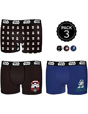 Star Wars Set de 3 Boxers Infantil 35% algodón/65% poliéster - Diseños Variados : Escoge tu Talla