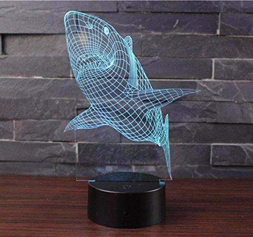 3D Optische Illusions-Lampen NHsunray LED 7 Farben Touch-Schalter Ändern Nachtlicht Für Schlafzimmer Home Decoration Hochzeit Geburtstag Weihnachten Valentine Geschenk Romantische Atmosphäre (Hai)