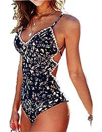 Bikini Siete Estilos de Moda o Brasileño o Clásico Mujer Push-up Acolchado Bra una Pieza V-Cuello Vendaje Color Solido 080082085140190330370