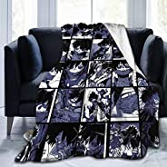 My Hero Academia Collage Anime Yoyorozu Momo Fleece Throw Blanket, Fuzzy Warm Throws for Winter Bedding, Couch