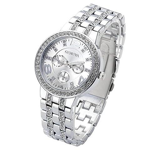 JSDDE Luxus Strass Femes montre-bracelet Acier Inoxydable Bracelet Ajustable faux