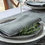 Linen & Cotton, Set Di 4 Tovaglioli In Stoffa Elegante, Motivi Scandinavi /Nordico - 100% Lino (Grigio)