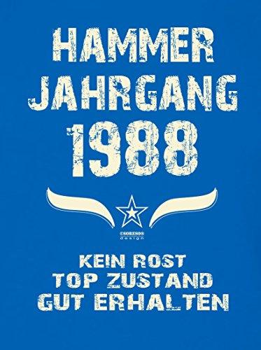 Modisches 29. Jahre Fun T-Shirt zum Männer-Geburtstag Hammer Jahrgang 1988 Farbe: royal-blau Royal-Blau