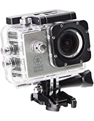 Ultrasport Caméra d'action UmovE HD60 – READY Edition avec carte micro SD de 16 Go et accessoires, Argent