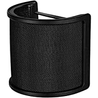 Microphone Pop Filter Metal Mesh and Foam Layer Mic Cover Handheld Microphone Windscreen Wind Screen Studio Shield Mount, Black