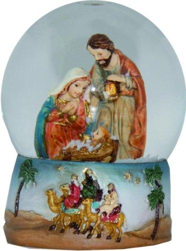 Schneekugel Heilige Familie, Höhe 9cm, handbemalen (Schneekugel Krippenfiguren)