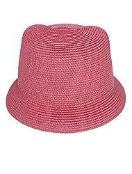 One Size , Watermelon Red : Women Roll Brim Cat Ear Design Beach Cap Bowler Braided Straw Sunhat