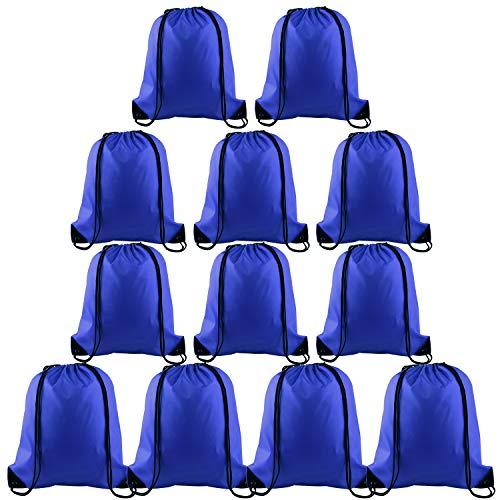 FEPITO 12 Pack Kordelzug Rucksack Taschen Tote Sack Cinch Tasche String Rucksack für Gym Reisen, blau - Blau Cinch