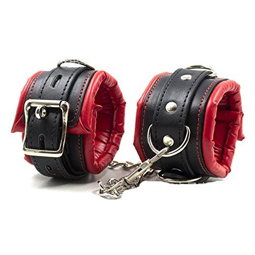 Boowhol Sex Handfesseln Leder gepolstert Schwamm Handschellen / Fußschellen Schwarz Rot Vertellbar Bondage SM Sex Spielzeug für Damen Männer (Hand)