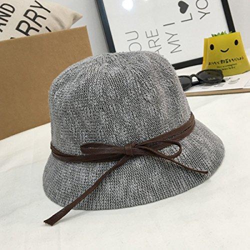 Le Nouveau Printemps Et à L'automne Mme Chapeau Arc Petit Chapeau Le Coton Seau Chapeaux gray