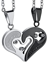 Bold N Elegant Valentine Special Bicolor I Love You Heart in Heart Couple Duo Pendant Chain Necklace Combo of 2 Jewellery Pcs BFF Lovers Soulmates Gift
