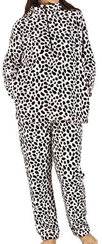 Dalmation zippé Mesdames luxe molleton doux bleu, rose ou brun tacheté Twosie salon costume pyjama petit - X Large Marron et blanc