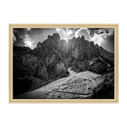 ConKrea Bild auf Leinwand Canvas-Gerahmt-fertig zum Aufhängen-Berge Ansel Adams Weiß und Schwarz-Landschaft Natur Panorama Dimensione: 70x100cm C - Colore Legno Naturale Contemporaneo -