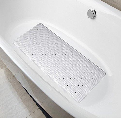 Badewanneneinlage von Casadamia | rutschfeste Badematte aus Naturkautschuk | ideale Größe 75 x 35 cm | lange Badewannenmatte mit 278 Saugnäpfen (Silbergrau)