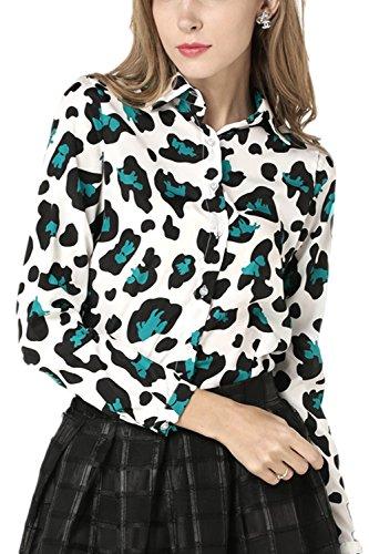 Frauen Leopard Gedruckten Einreihig Revers Hemd, Bluse Pullover. Green L (Leopard Green)