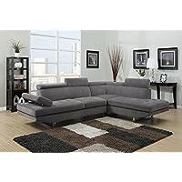 Canapé d'angle en microfibre gris design (ANGLE DROIT)