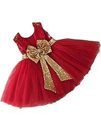 Inlefen Girls Bowknot Lace Princess Skirt Summer Lentejuelas Vestidos para bebés niños pequeños ...