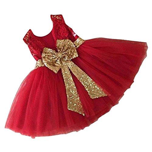 Inlefen Mädchen Bowknot Spitze Prinzessin Rock Sommer Pailletten Kleider für Baby Kleinkinder Kinder 0-5 Jahre alt rot 100/2-3years