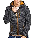 Xmiral Herren Pullover Mantel Herbst Winter Casual Reißverschluss Langarm Hooded Sweatshirt (L,Schwarz)