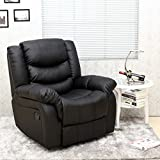 SEATTLE LEATHER RECLINER ARMCHAIR SOFA HOME LOUNGE CHAIR RECLINING GAMING (Black)